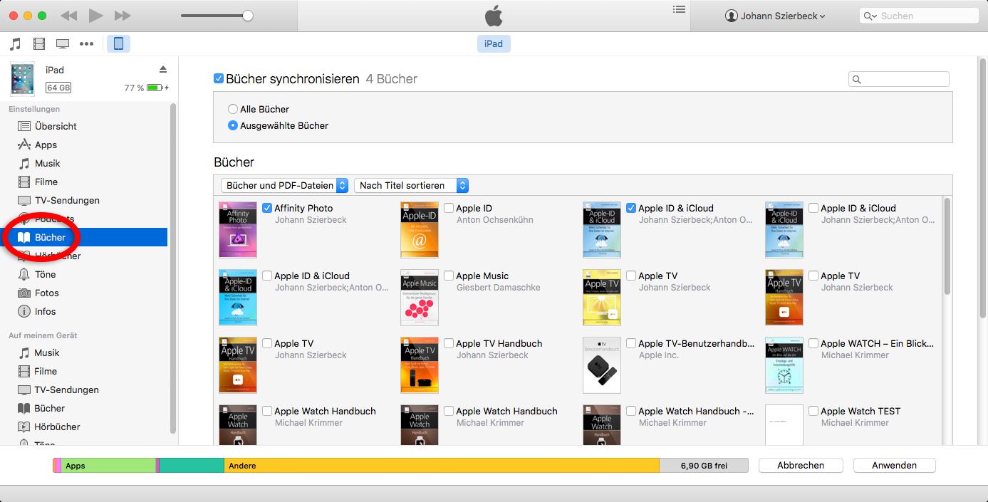 Die E-Books zur Übertragung auswählen
