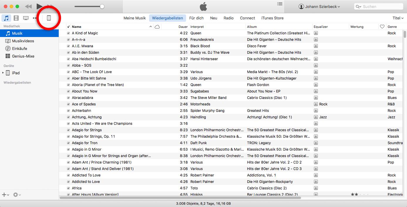 Das Gerät in iTunes auswählen