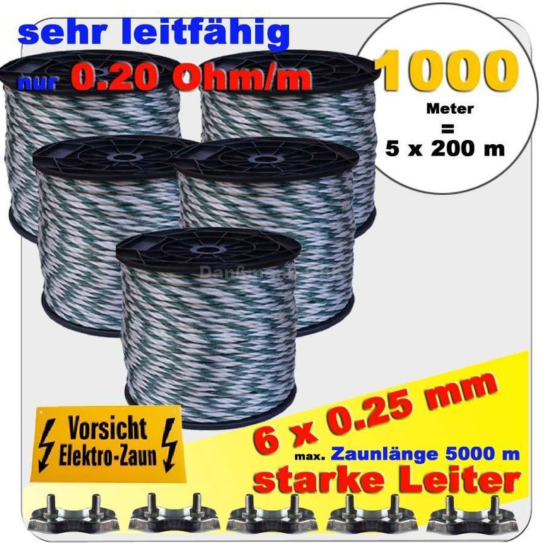 1000 m weidezaunseil 6 mm 6 starke mm al leiter weiss gr n ebay. Black Bedroom Furniture Sets. Home Design Ideas