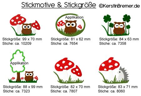 Stickmotiv und Stickgroessen