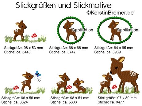 Stickmotive und Stickgroessen