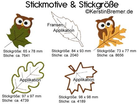 Stickmotive und Stickgröße