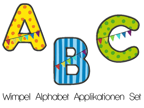 ABC Applikationen Stickdateien Set Wimpel