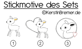 Stickmotive des Sets