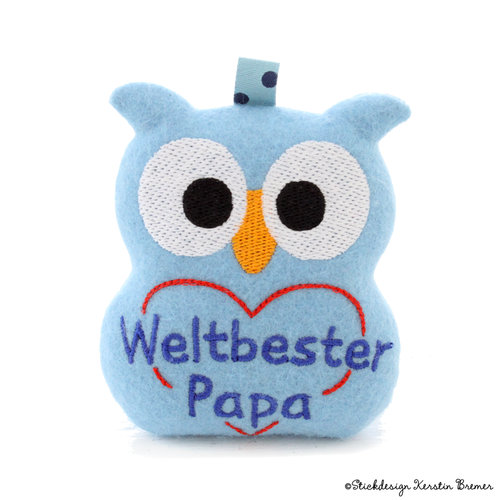 Weltbester Papa Eule ITH Stickdatei