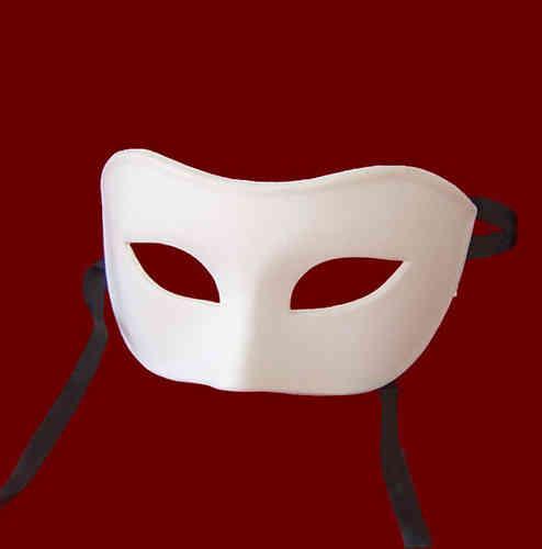 Masque vénitien vierge: Colombine classique (blanc)