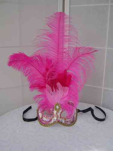 "Venetian colombine mask ""musica"" with pink feathers"
