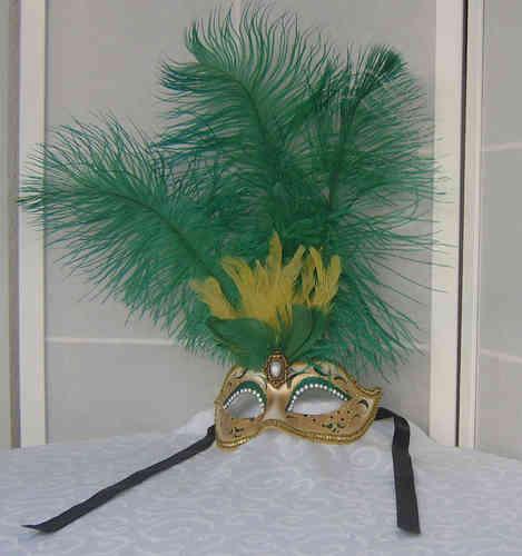 Venezianische Colombina-Maske mit Federn