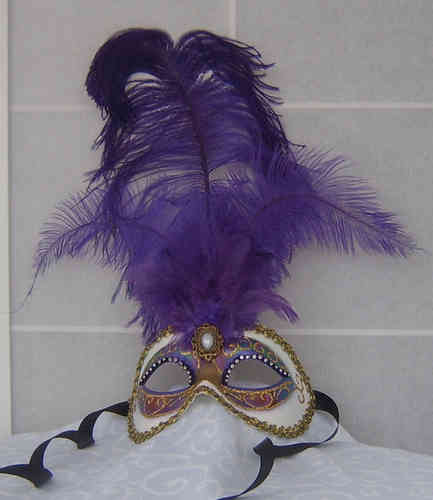 Venetian colombine mask with feathers