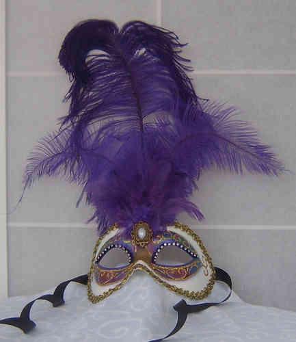 Masque vénitien colombine à plumes