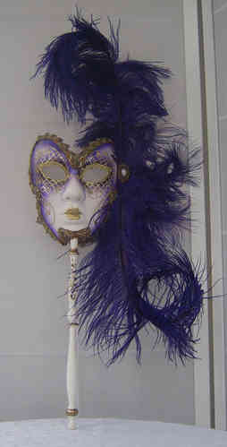 Venetian mask on stick with feathers