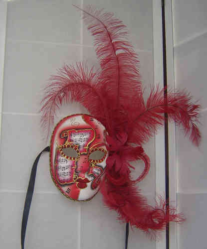 Venetian volto face mask with feathers