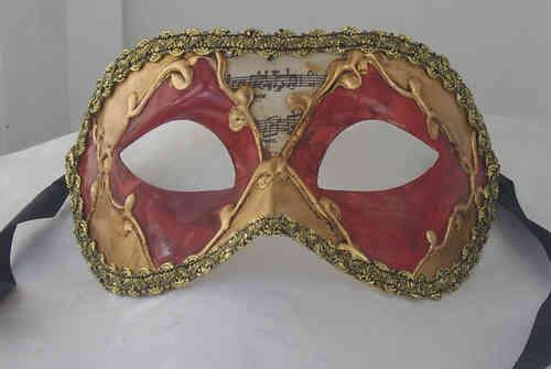 Masque colombine rouge-doré