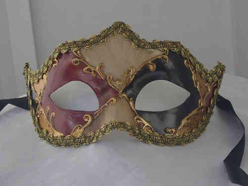 Colombina-Maske, rot-scwarz-weiss golden
