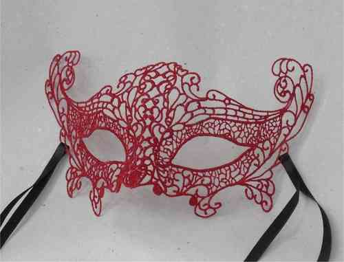 Venetian colombina mask, macramé, red