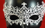 Venetian laser cut out metal mask, white, strass pearls