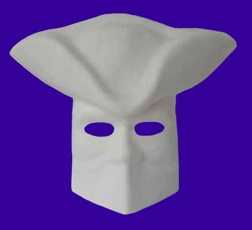 Venetian bauta mask with tricorn imitation