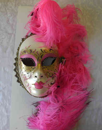 Volto face mask, pink gold feathers