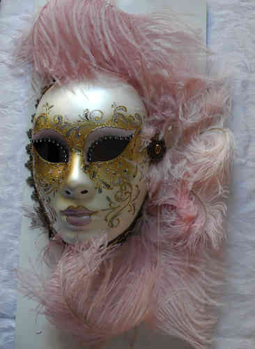 Volto face mask, light pink gold feathers