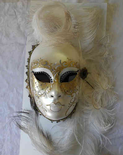 Volto face mask, white gold feathers