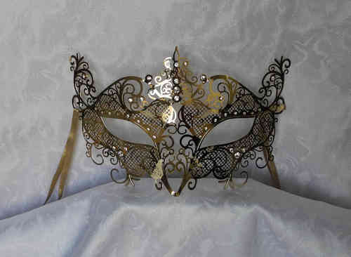 Laser cut out venetian metal mask, golden strass pearls