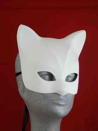 Venetian blank cat mask type C (Gatta bianca)