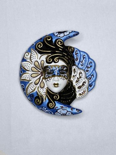 Masque vénitien décoratif Lune et Soleil (S, bleu)