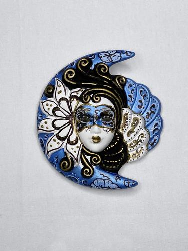 Venezianische Wandmaske Sonne und Mond (S, blau)