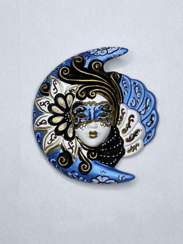 Venetian decorative wall mask Moon and Sun (S,blue)