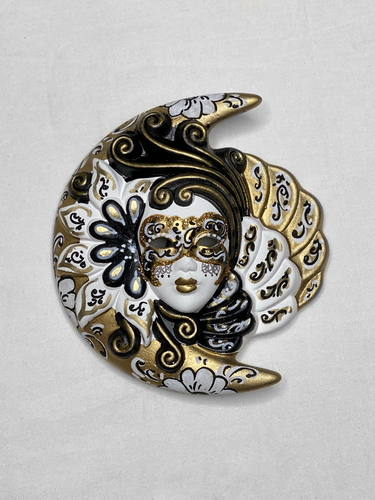 Venetian decorative wall mask Moon and Sun (S,black and white, golden)