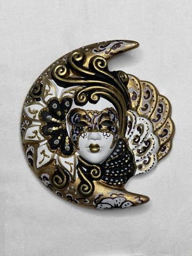 Masque vénitien décoratif Lune et Soleil (S, noir et blanc doré)