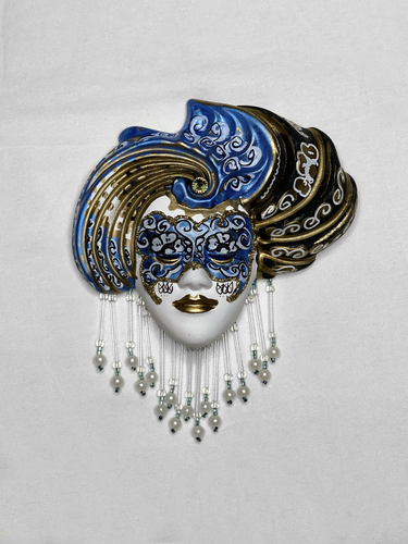 Turbaned venetian decorative wall mask (S,blue)