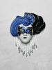 """Venezianische Wandmaske """"Turbante"""" (S, blau)"""
