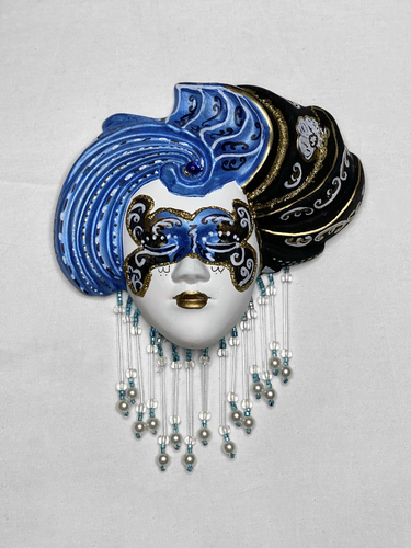 "Masque vénitien décoratif ""turban""(S, bleu)"