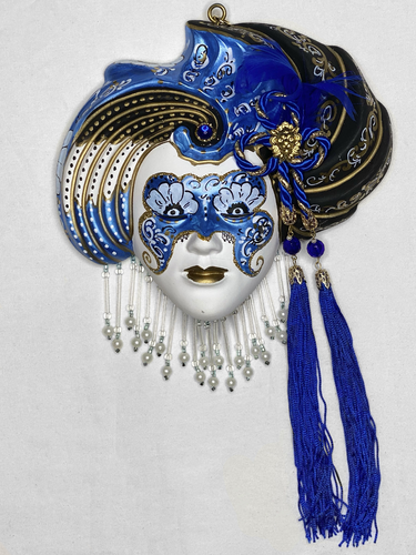 Turbaned venetian decorative wall mask (M,blue)