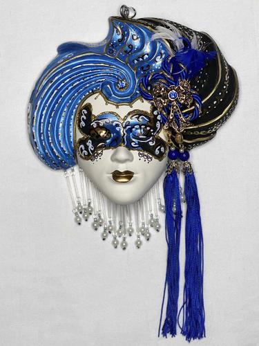 """Masque vénitien décoratif """"turban""""(M, bleu)"""