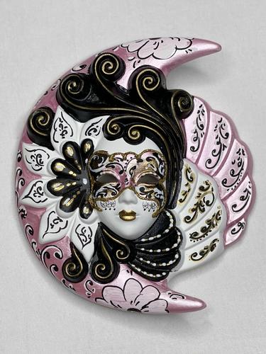 Masque vénitien décoratif Lune et Soleil (M, rose)