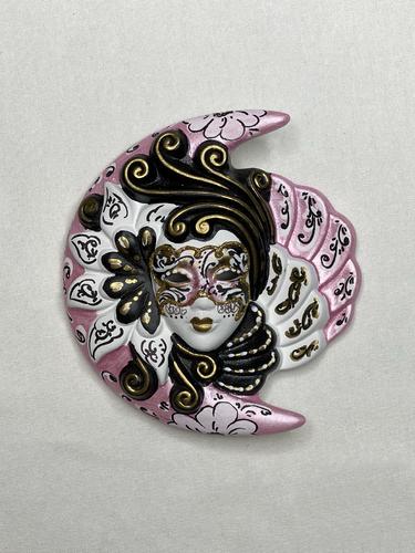 Masque vénitien décoratif Lune et Soleil (S, rose)