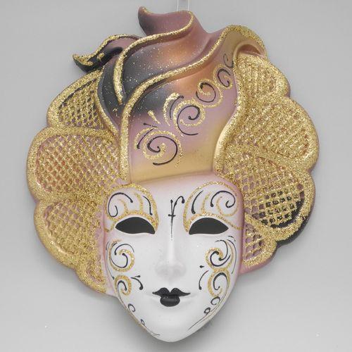 "Masque vénitien décoratif mural ""Sylvia"" rose"