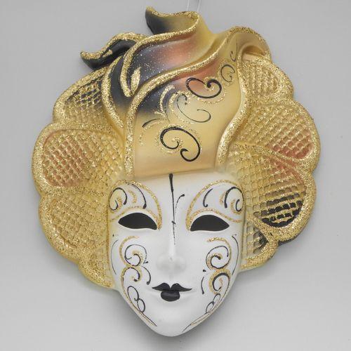 """Masque vénitien décoratif mural """"Sylvia"""" jaune"""