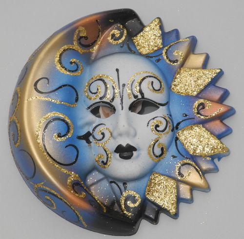 Venetian decorative wall mask - Moon and Sun, M, blue