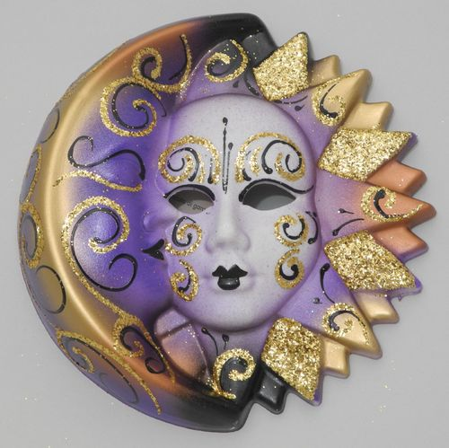 Venetian decorative wall mask - Moon and Sun, M, violet