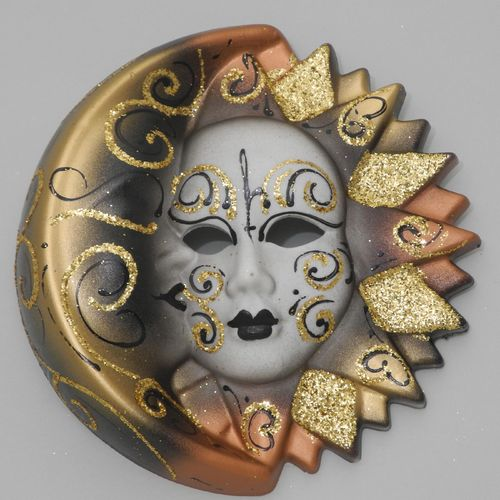 Venetian decorative wall mask - Moon and Sun, M, brown