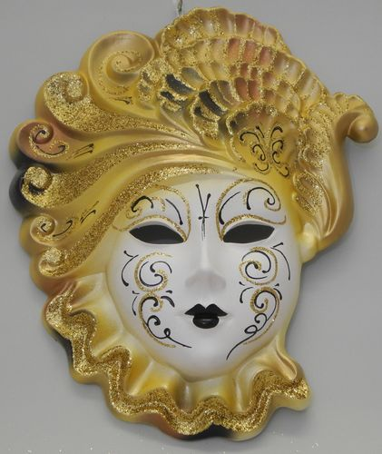 "Venetian decorative wall mask ""Mary"", XL, yellow golden"