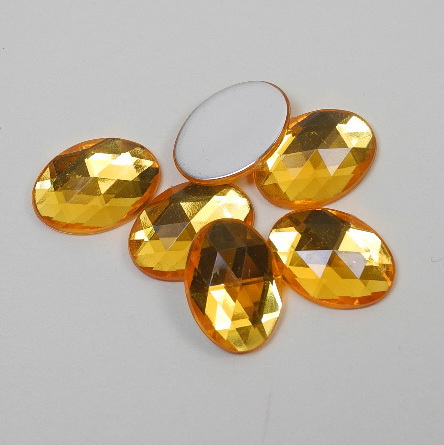 6 oval acrylic gemstones 13x18 mm, colour: yellow