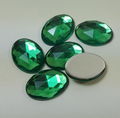 6 oval acrylic gemstones 13x18 mm, colour: green