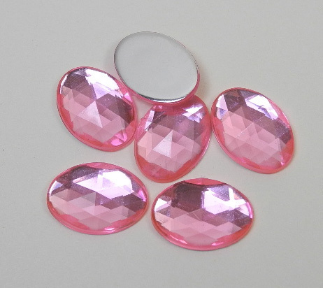 6 Pierres strass forme ovale 13x18 mm rose