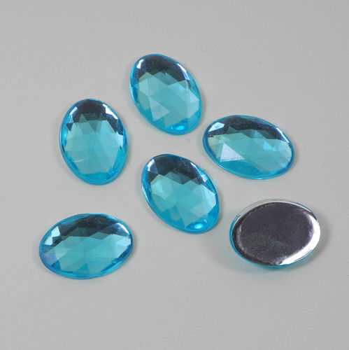 6 oval acrylic gemstones 13x18 mm, colour: blue turquoise