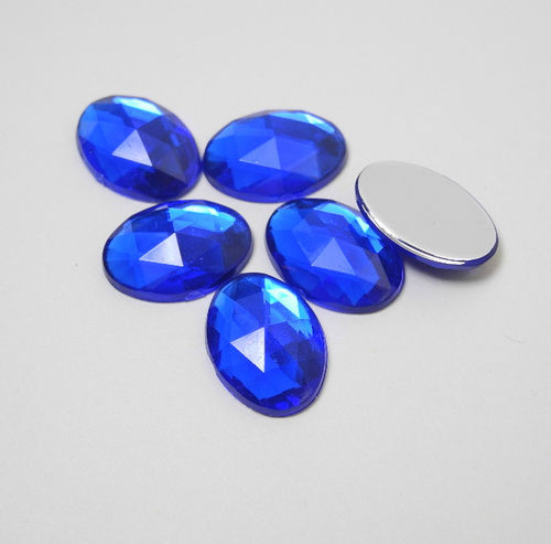 6 Pierres strass forme ovale 13x18 mm bleu