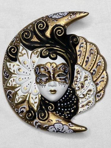 Venezianische Wandmaske Sonne und Mond (M, schwarzweiss golden)